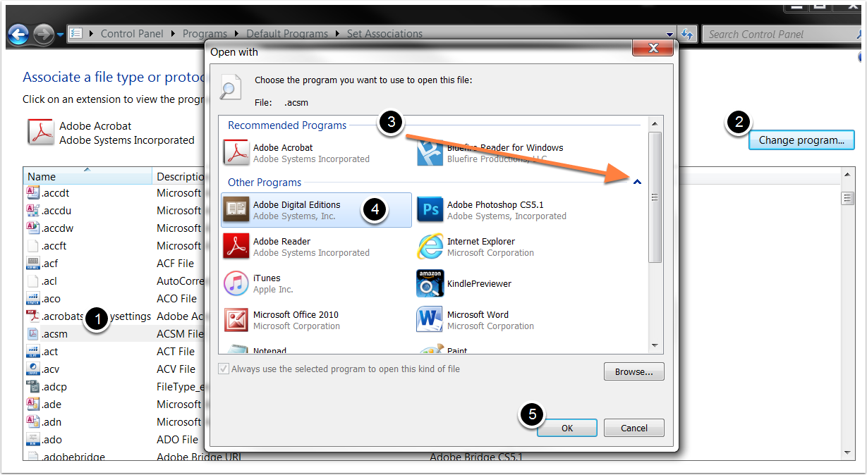 Change Default Program in Windows Vista or Windows 7
